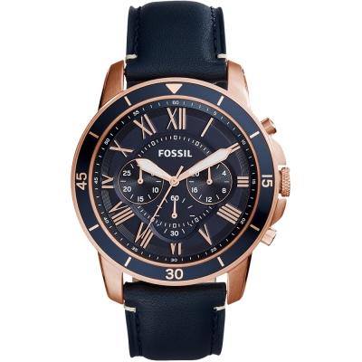FOSSIL Grant經典復刻計時真皮手錶-藍X玫瑰金/44mm
