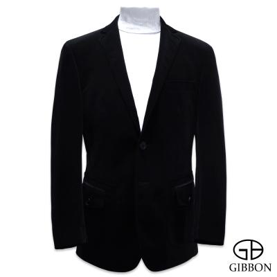 GIBBON 歐風新詮釋經編絨獵裝外套‧黑色46~52