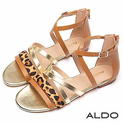 ALDO 彩色動物紋交叉繫帶後拉鍊式木紋粗跟涼鞋~豹紋棕色