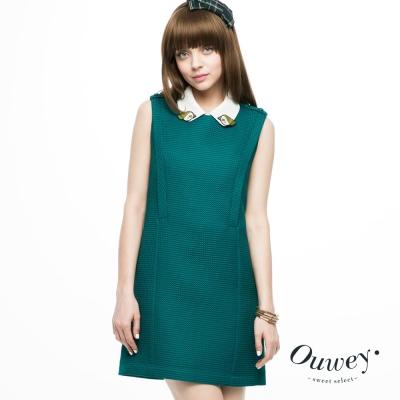 OUWEY歐薇-科技感布料撞色洋裝