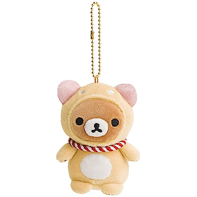 拉拉熊開運幸福系列毛絨公仔吊飾。開運犬San-X