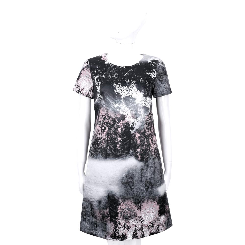Max Mara 黑x粉色樹林墨畫短袖洋裝