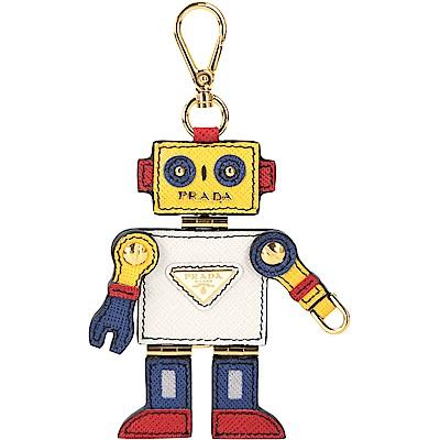 Prada Saffiano 機器人防刮牛皮吊飾/鑰匙圈