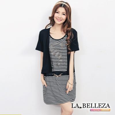 中大尺碼 假二件內水鑽橫條拼接小外套洋裝-La Belleza