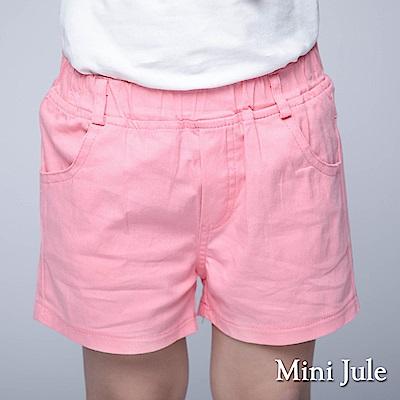 Mini Jule 童裝-短褲 休閒純色雙口袋鬆緊短褲(粉)