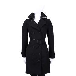 BURBERRY QUEENSHOUSE 黑色棉質風衣外套(附腰帶)