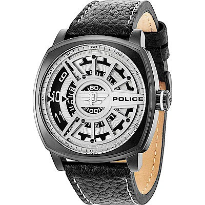 POLICE 時空旋轉時尚皮革手錶-銀灰X黑/50mm