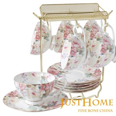 Just Home花漾薔薇新骨瓷6入咖啡杯盤組附架(附禮盒)