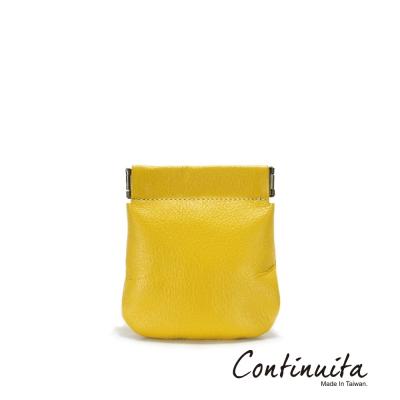 Continuita-康緹尼-MIT-頭層牛皮口袋零錢包-黃色