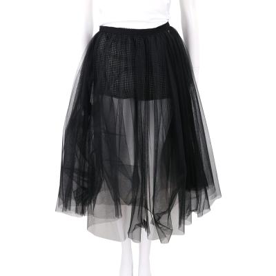ELISABETTA FRANCHI 黑白格紋短褲假兩件式空氣紗裙