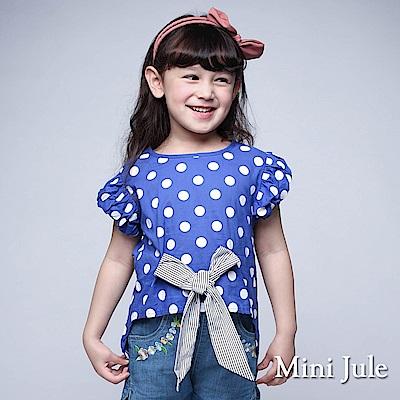 Mini Jule 童裝-上衣 點點蝴蝶結前短後長上衣(藍)