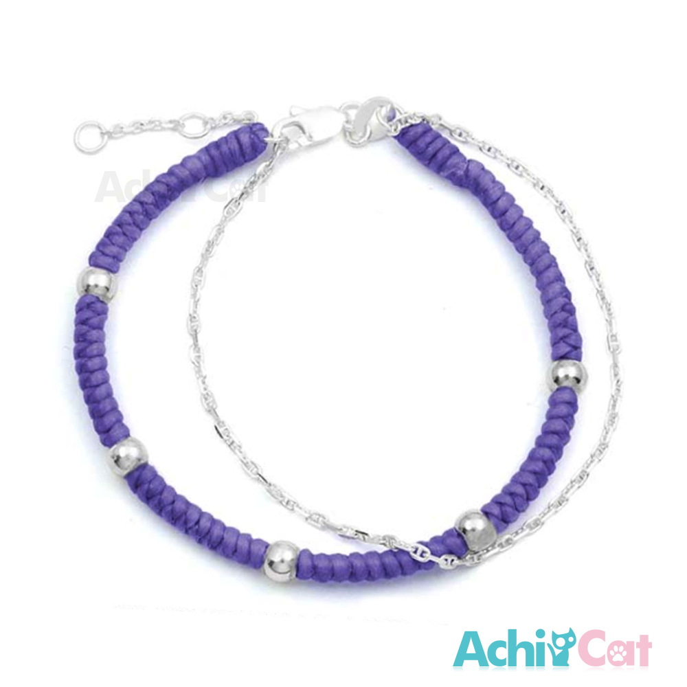 AchiCat 蠶絲蠟繩手鍊 925純銀 五福臨門(紫色)