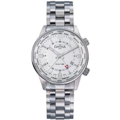 DAVOSA Vireo Dual Time–威利爾經典雙時區系列鋼帶腕錶-白/42mm