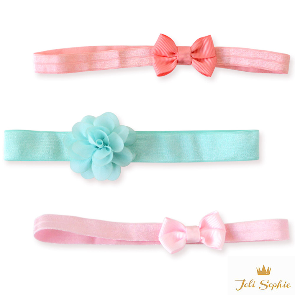 Joli Sophie 美國 藍綠花朵粉蝴蝶結髮帶3入組