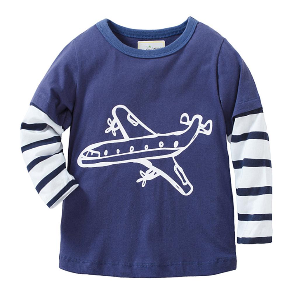 歐美風 男童 純棉長袖T恤-飛機