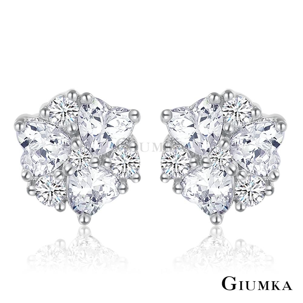 GIUMKA純銀耳環 魔幻愛情滿鑽針式耳環-銀色