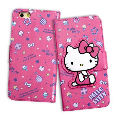 Hello Kitty iPhone 6S 4.7吋 閃粉絲紋皮套(甜點桃)