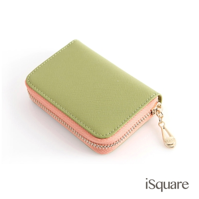 iSquare-韓國同步真皮卡包系列-貝菈-草綠