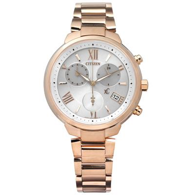 CITIZEN  XC 光動能計時日期防水鈦金屬手錶-銀x鍍玫瑰金/35mm
