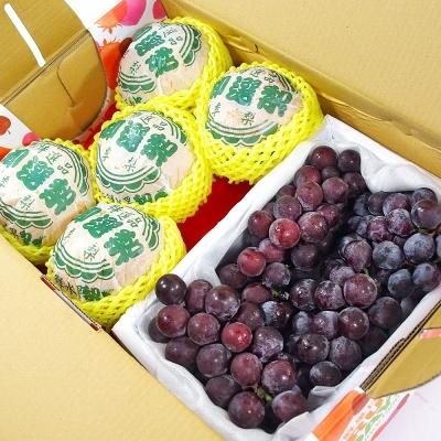 鮮果日誌 - 清涼健康禮盒組(東勢新興梨5入+巨峰葡萄2.5台斤)