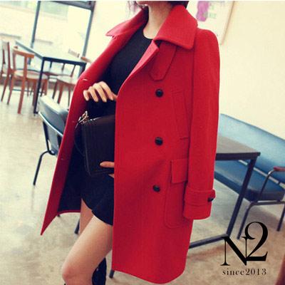 外套 翻領雙排釦寬鬆中長款大衣外套(紅)  N2