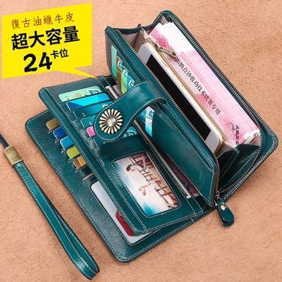 玩皮工坊-復古牛皮24卡位女士皮夾錢包長夾手拿包女夾-LH523
