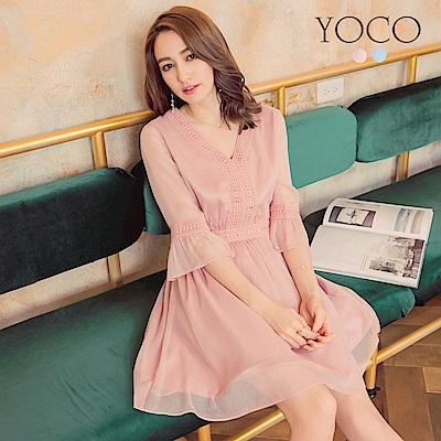 東京著衣-yoco 迷人呢裳V領透膚綴蕾絲傘袖洋裝-S.M.L(共二色)