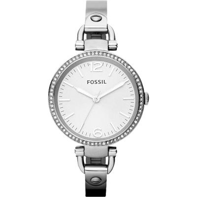 FOSSIL 俏皮女孩晶鑽時尚腕錶-銀/32mm