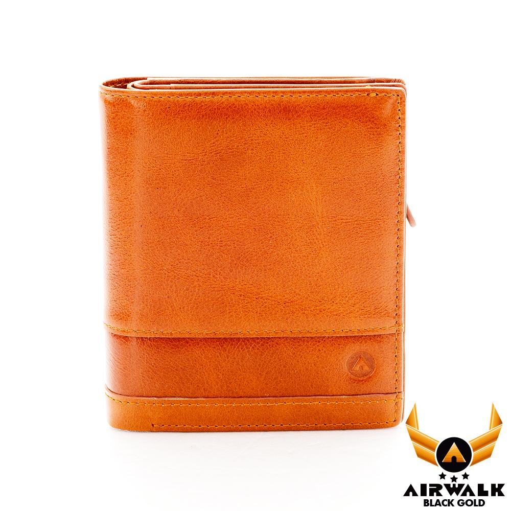 AIRWALK - 真皮二折皮夾 黑金系列 雙拼牛皮拉鍊短夾 - 正正桔