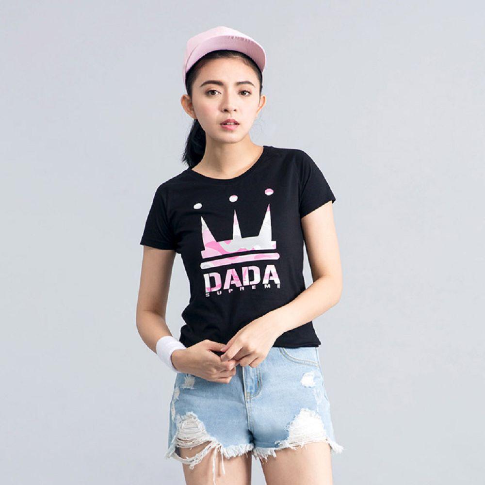 DADA SUPREME 粉紅迷彩LOGO T-shirt-女-黑
