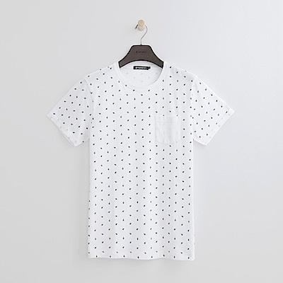 Hang Ten - 男裝 - 優質純棉幾何圖樣上衣-白色