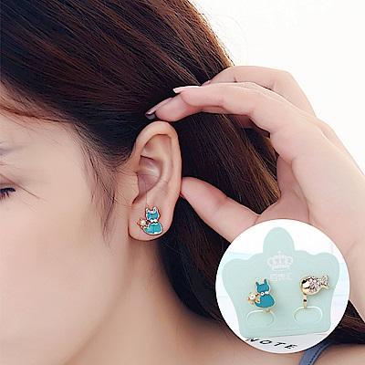 梨花HaNA 無耳洞韓國貓咪愛上魚不對襯耳環夾式