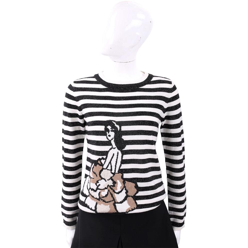 MARELLA 優雅女孩圖騰黑白條紋針織羊毛衫
