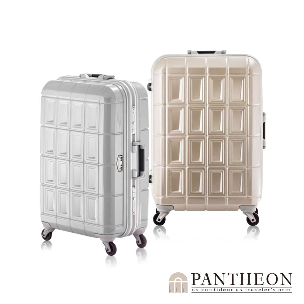 日本PANTHEON 24吋 霧面香檳金拉絲  網美行李箱 輕量鋁框登機箱