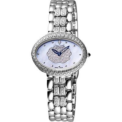 Ogival 山茶花珍珠貝璀璨真鑽腕錶-藍彩貝/銀/32mm