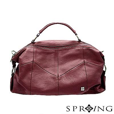 SPRING-誘人潘朵拉柔軟真皮側背包-貴族酒紅
