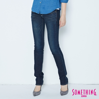 SOMETHING光澤內斂 亮片窄直筒牛仔褲-女款-原藍磨
