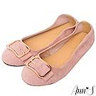 Ann'S高雅氛圍-金色方扣全真皮柔軟平底娃娃鞋-粉