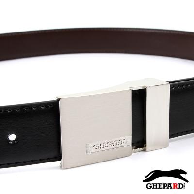 GHEPARD捷豹-經典長方LOGO後鏤空頭配二層牛皮點扣皮帶-G430