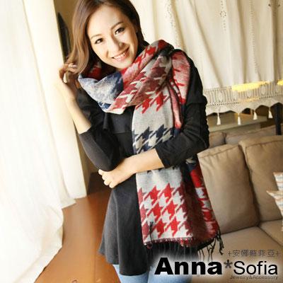 AnnaSofia-雙面千鳥紋-流蘇長圍巾-藍紅系