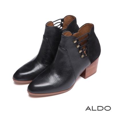 ALDO-真皮原色V字交叉繫帶木紋粗跟短靴-尊爵黑
