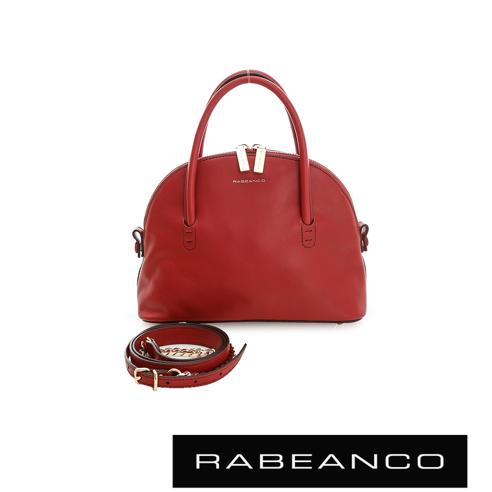 RABEANCO 迷時尚牛皮系列鍊帶貝殼包 紅