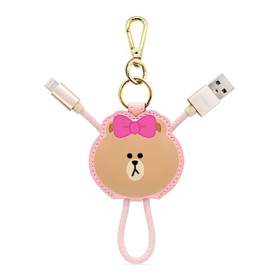 GARMMA LINE Friends Apple Lightning皮革吊飾傳輸線 熊美
