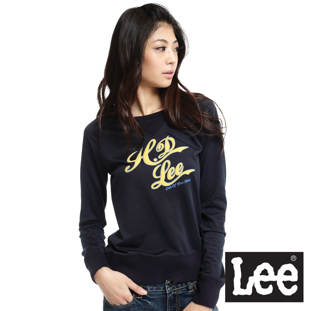 【Lee】文字拼接拉克蘭長袖圓領T恤-女款(深藍)
