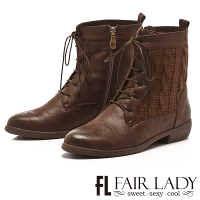 Fair Lady 特殊毛尼拼接綁帶粗跟短靴 咖啡
