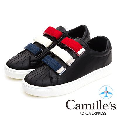 Camille's 韓國空運-正韓製-三色魔鬼氈帶休閒鞋-黑色