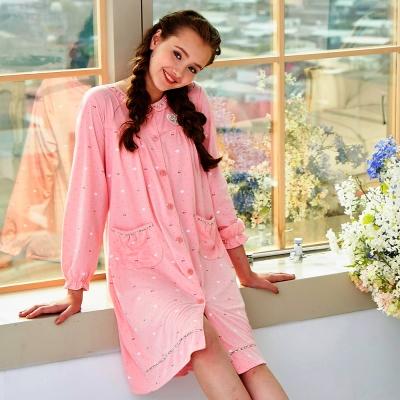 睡衣 精梳棉柔針織 長袖連身睡衣(65213)粉色 蕾妮塔塔