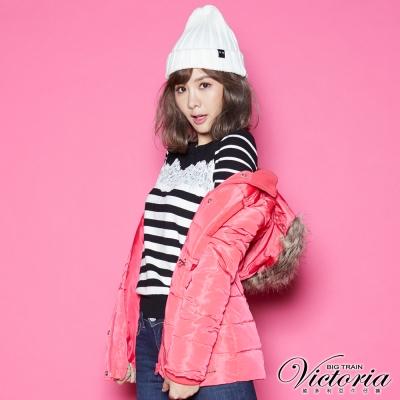 Victoria 蕾絲拼接條紋長袖線衫-女-黑底白條
