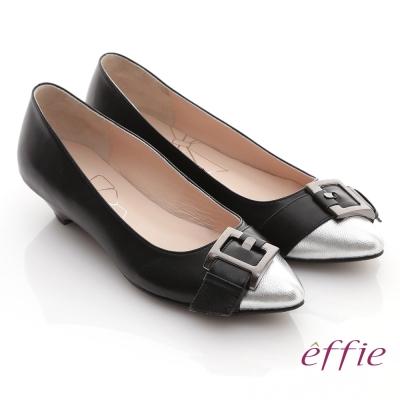 effie 玩酷都會 金箔羊皮尖頭扣帶造型低跟鞋 黑