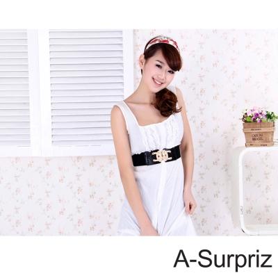 A-Surpriz 金色繩結扣環彈性腰帶(奢華黑)